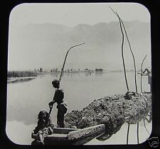 JV Glass Magic lantern slide A FLOATING GARDEN KASHMIR C1890 INDIA