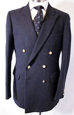 Amazing VTG Gant double breasted 6x2 navy tweed sport coat jacket 40L 40 Long