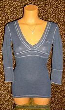NEW! HOLLISTER NAVY BLUE VINTAGE WASH LOW CUT V-NECK FITTED EMPIRE TEE TOP * S/M