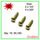 "2x1/4"" or 4 x 3/8"" Hammer Drive Screws - Electro Brassed"