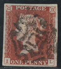"""1843 Penny Red Spec BS23ts  Plate 34 (IL) Fine """"Norwich"""" MX  Fine Used 4 Margins"""