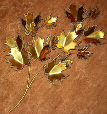 Signed 1980's Copper Tin Chrome Leaves Wall Art Sculpture Brulalist