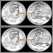 4x CANADA 2007 CANADIAN WINTER OLYMPIC WHEELCHAIR CURLING 25 CENT COIN LOT