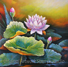 LARGE ORIGINAL OIL Painting  ART LOTUS FLOWER BOTANICAL Asian    Sherry Price