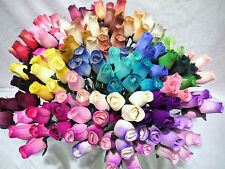 30 WOODEN ROSES WHOLESALE CRAFTS HOME DECOR ARTIFICIAL FLOWERS MIXED BOX COLOURS