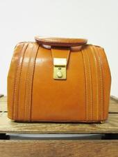 VINTAGE British Tan Leather Elegant 1960s Mini Doctor Bag Snap Shut Lock Satchel