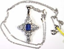 Himalayan Kyanite, Topaz Cross Pendant Silver With Chain (20 in) 5.03 Cts
