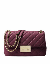 MICHAEL MICHAEL KORS SLOAN PLUM QUILTED LEATHER LARGE CHAIN SHOULDER BAG