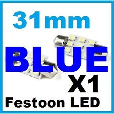 1 X Blue LED Festoon 31 mm Glove Box Boot Map Dome Reading Light Bulb 12V
