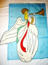 "vtg Large AnGeL playing trumpet music garden FLAG 28"" x 39""  Religious Easter"