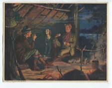 Vintage 1940 Print Evening Camp Scene with Hunting Dogs Titled In Hunting Season