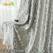 Blockout Eyelet Curtains 140cm x 185cm (Drop) French Style Silver Grey