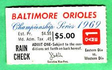 1969 ALCS PLAYOFFS GM #1-TWINS @ ORIOLES TICKET STUB