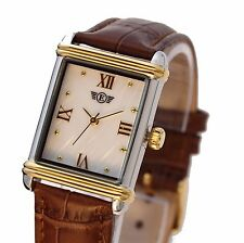 Womens Vintage Retro Rectangular Two Tone Dress Watch Leather Strap PTT