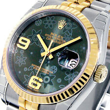 UNWORN ROLEX 116233 DATEJUST 36 mm GREEN FLORAL YELLOW GOLD MENS STEEL JUBILEE