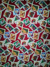 LINED VALANCE 52X15 CHRISTMAS WINTER POSTAGE STAMP TREE PRESENTS SANTA SNOWMAN
