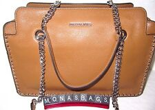 Michael Kors Astor large Satchel Acorn Luggage Leather Studded New NWT $368