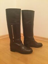 Chanel Brown Leather Tall Riding Boots Size 39 Italian (7.5 US)
