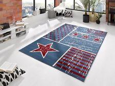 Design Kinder Teppich Star Stern Kurzflor Modern Blau Velours 140cm x 200cm