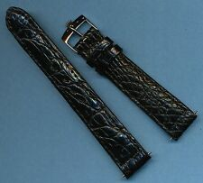 Rolex Steel Buckle & 18mm Genuine Black Crocodile Strap Band For Bubbleback