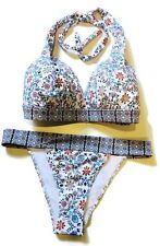 ASOS Halter Top and Bikini Bottom Floral 2 Piece Bikini Swim Suit SZ 30I 8 NWOT