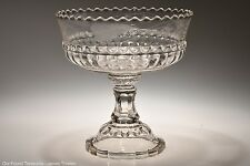 "c. 1892 No. 400 BAR AND FLUTE by Riverside CRYSTAL 7.25"" Etched Open Compote"
