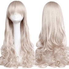 Silvery Gray Long Full Head Wig Curly Cosplay Party Fancy Synthetic Hair Wigs US
