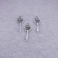 Jewelry Findings,Charms,Pendants,Tibetan Silver 15pcs Hollow flower key  @4