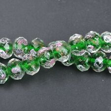 10pcs Emerald Faceted Rondelle Flower Lampwork Glass Beads  10MM