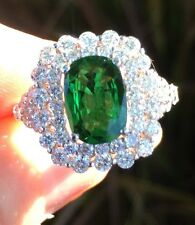 18K GOLD 5.30CT GIA CERTIFIED LARGE GREEN TSAVORITE GARNET TOP GEM DIAMOND RING