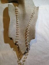 White Baroque Freshwater Real Natural Pearl 60 In Hand Wrapped Necklace