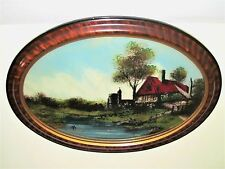 Reverse Paint Convex Glass Old Cottage Lake Home Castle Faux Tiger Wood Frame A+