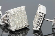 .63 CARAT WHITE GOLD FINISH MENS WOMENS 12mm 100% REAL DIAMONDS EARRINGS STUDS