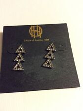 $54 House Of Harlow Earrings Silver  Tone Triple Triangles #A 2