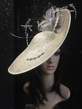 snoxell gwyther SILVER GREY Hat disc fascinator ascot wedding OCCASION HAT