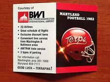 CFB 1982 MARYLAND TERRAPINS TERPS Football Schedule College FB 82