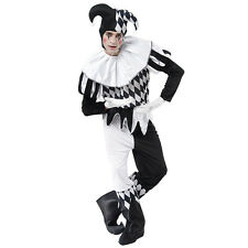 ADULT MALE #HARLEQUIN BLACK & WHITE FANCY DRESS CLOWN ONE SIZE COMPLETE OUTFIT