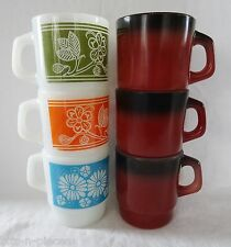 lot 6 VINTAGE FIRE KING Mugs  mixed black brown white w blue orange olive green