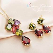 18K Rose Gold Plated Swarovski Element Charming Multicoloured Teardrop Set
