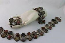 Vintage Peruvian Opal Silver Art Jewelry Agate Necklace Bracelet Earrings