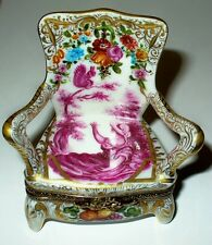 LIMOGES BOX -PINK TOILE ARM CHAIR- LADY & SQUIRREL & FLOWERS & FRUITS - LE 34/80