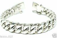 TAXCO MEXICAN 925 STERLING SILVER MEN'S UNISEX CUBAN CHAIN LINK BRACELET MEXICO