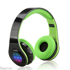 EXCELVAN Headphone Sound Intone Folding Wireless Bluetooth LED Stereo FM Radio