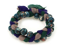 Multi-Color Beaded Stretch Bracelet W Braided Purple and Green Cloth
