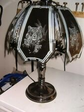 Tiger Design Touch Lamp with Pewter Base