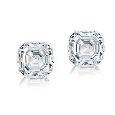 14K White Gold 6mm Asscher-Cut Cubic Zirconia Stud Earrings