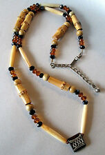 Vintage Bamboo Long Necklace Black Jet & Amber Glass Beads Tribal Boho Bohemian