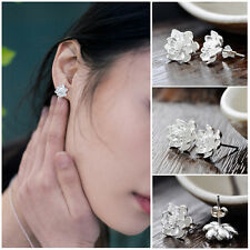 Newest Women 925 Sterling Silver Lotus Flower Ear Studs Earrings Jewelry HOT