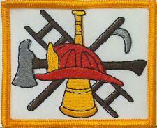 FIRE DEPARTMENT FIREFIGHTER LOGO  Iron-On Patch Emblem Gold  Border #456