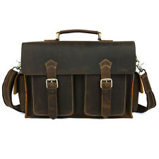 Men's Vintage Real Leather Messenger Shoulder Bag Business Briefcase Laptop Bag